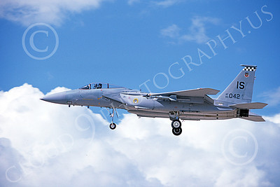 F-15USAF 00174 A landing McDonnell Douglas F-15 Eagle jet fighter USAF 80042 57th FIS BLACK KNIGHTS IS code 10-1987 military airplane picture by Michael Grove, Sr