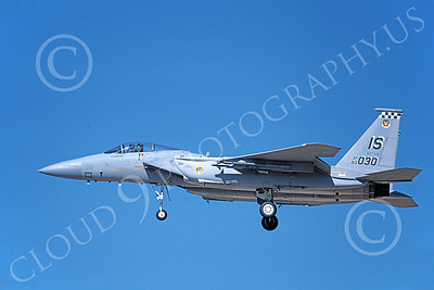 F-15USAF 00164 A landing McDonnell Douglas F-15 Eagle jet fighter USAF 80030 57th FIS BLACK KNIGHTS IS code 10-1989 military airplane picture by Michael Grove, Sr