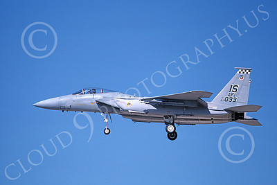 F-15USAF 00166 A landing McDonnell Douglas F-15 Eagle jet fighter USAF 80033 57th FIS BLACK KNIGHTS IS code 10-1987 military airplane picture by Michael Grove, Sr