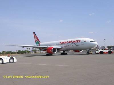 Kenya Airways, Boeing 777 being pushed back for departure at Nairobi, Africa.