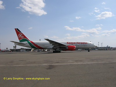 Kenya Airways, Boeing 777 at Nairobi , Kenya. August 2006. Image # 015