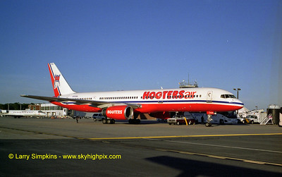 Hooters Air, Boeing 757 at Charlottesville, Virginia. October 2004