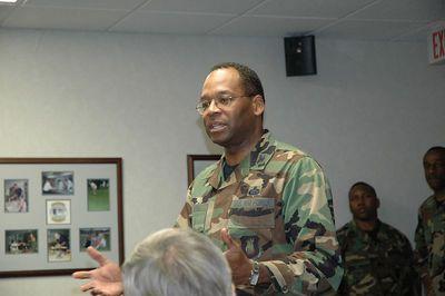 Col. Herman Hicks briefing Tanker Refuling mission, June, 05 Wichita, Kansas.