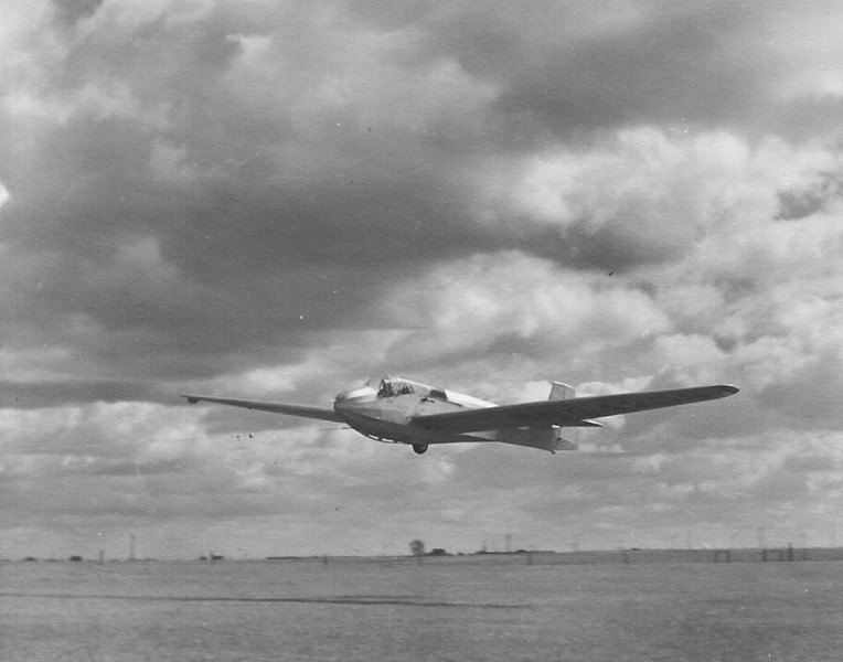 """1946 - Cheyenne Soaring Council SGS TG-3A """"Sail-Liner"""" on winch launch."""