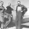 "September 1946 - Bill Clarke, Bill Prescott and Daye Edwards in front of the ""Sail-Liner""."