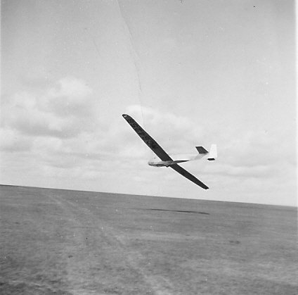 1946 - WWII Surplus Sailplane - Schweitzer SGS - TG-3A Sailplane on low final @ Anopholes Field - Cheyenne, Wyoming.