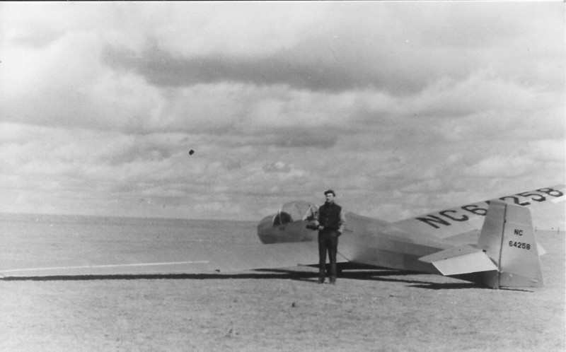 1946 - Bill Prescott with Cheyenne Soaring Council Schweitzer TG-3A Sali-Liner.