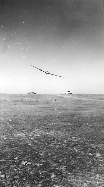 """September 1946 - Cheyenne Soaring Council SGS TG-3A dubbed """"Sail-Liner"""" coming in down wind.  Bill Prescott and other members of the Cheyenne Soaring Council were United Air Lines (UAL) employees based in Cheyenne, Wyoming at the UAL Maintenance Base."""