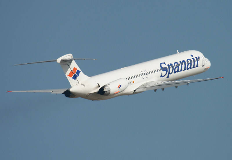Spanair MD-83 EC-GNY<br /> By Jim Calow.