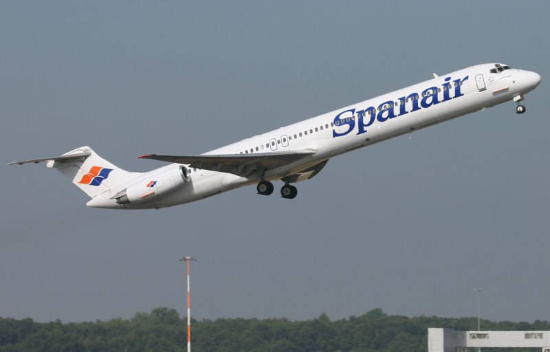 Spanair MD-83 EC-GNY<br /> By Jim Calow.