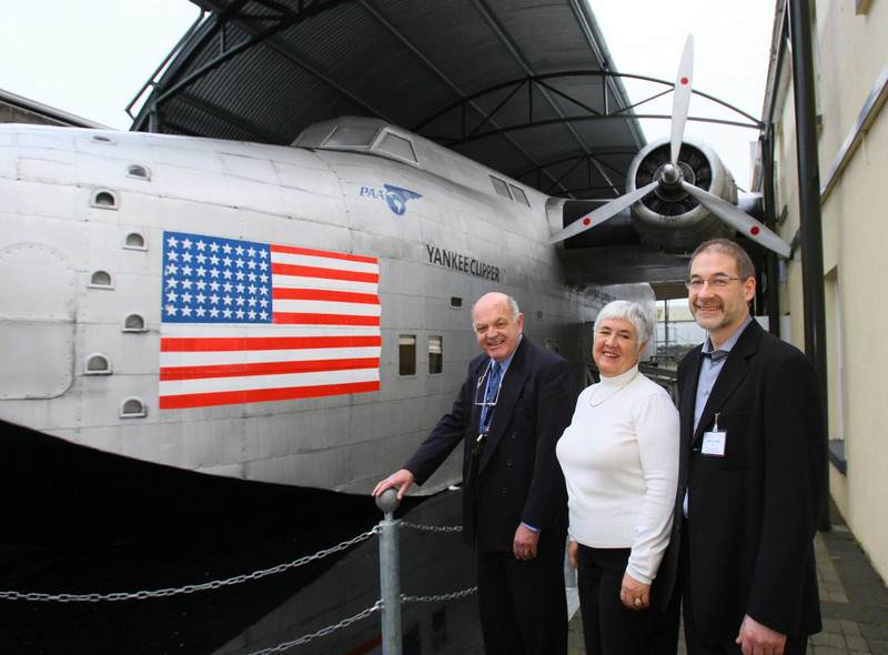 1  Foynes Flying Boat Museum in Co. Limerick has been named as a winner in the 2007 Interpret  Britain & Ireland Awards by the Association for Heritage Interpretation (AHI). Photo shows Aaron Lawton, Chairman, AHI (right) visiting Foynes Museum with Maurice Cronin, Director, and Margaret O' Shaughnessy.   - Photo: Kieran Clancy / PICSURE  ©  26/11/07