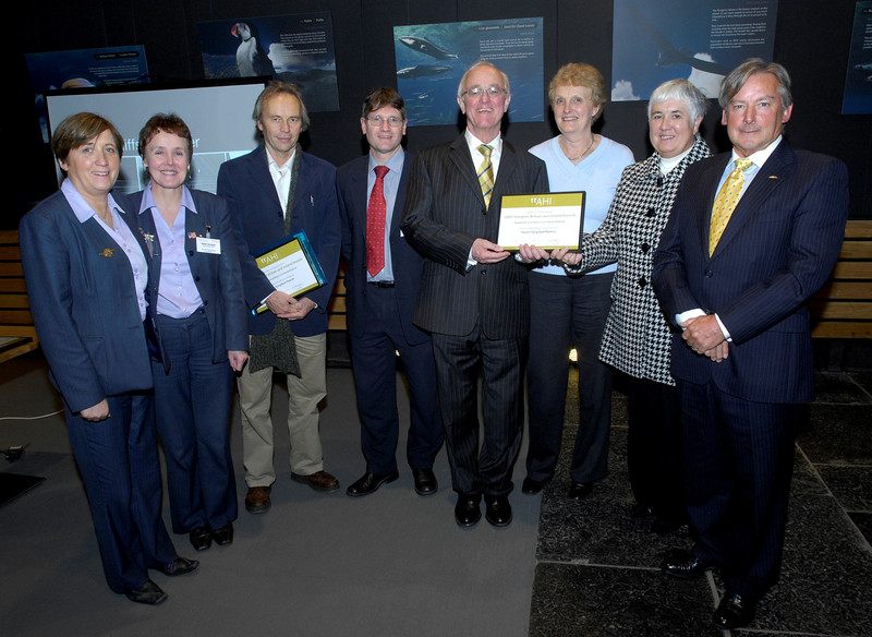 The Foynes Flying Boat Museum delegetes who won an award for excellence in Interpretation; Martina Nicholson, Helen Enright, Jack Harrisson, Trevor Young, Joan Maher Margaret O Shaughnessy and Brian Cullen with Guest of Honor Frank Kelly, fifth from left,  at the AHI Interpret Britain and Ireland Awards at the Cliffs of Moher, County Clare.