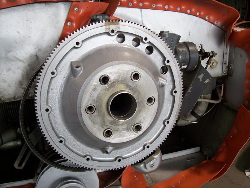 New alternator belt and flywheel reinstalled!<br /> Alternator fan & pulley refurbished.<br /> Prop govenor cable bracket next in line!