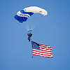 A parachuter with the American Flag in the Opening ceremonies for the 2008 Wings over Marietta Open House & Airshow