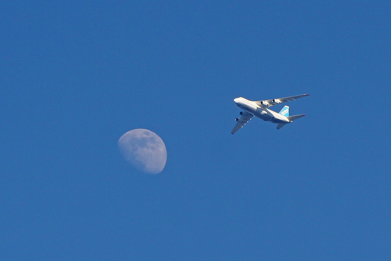 AN124  UR-82008 and the moon<br /> By David Bladen.
