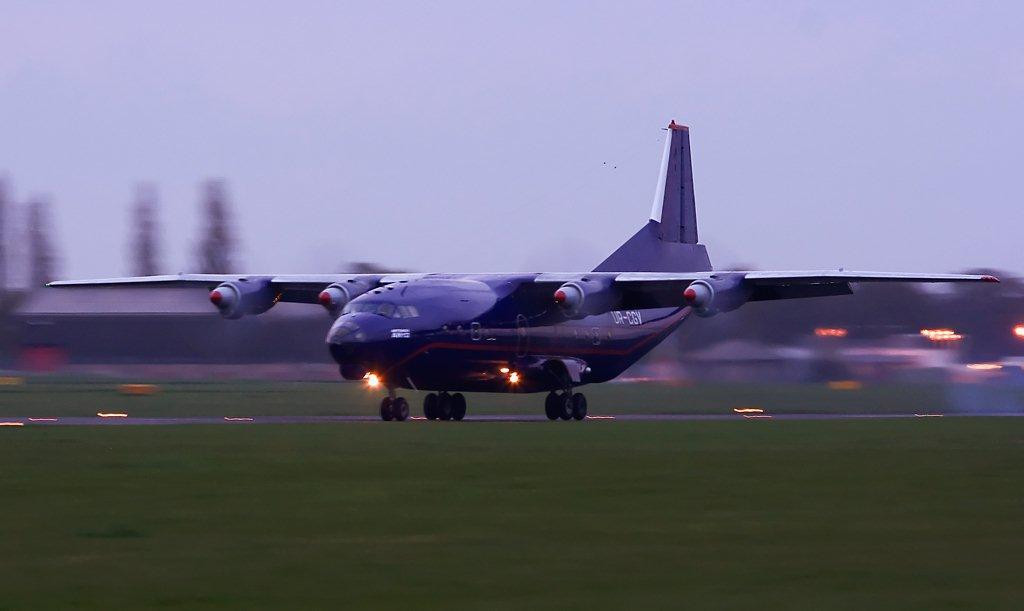 Meridian Air An-12 UR-CGV<br /> By Stuart Allen.