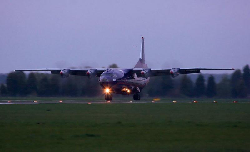 Meridian Air An-12 UR-CGV<br /> By Stuart Allen.