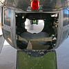 A view into the ball turret on the belly of the B-17 with the hatch open.