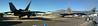 Stitched Panorama: 2 Lockheed Martin F-22 Raptors and Boeing B1B Lancer