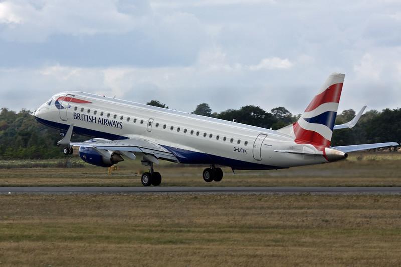 British Airways Embraer 190 G-LYCK departs DSA.<br /> David Bladen.