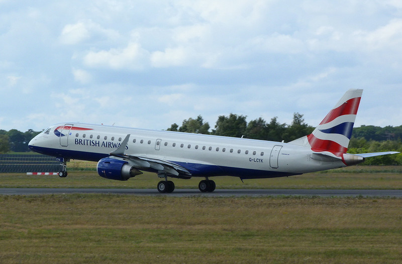 British Airways Embraer 190 G-LYCK departs DSA.<br /> By Clive Featherstone.
