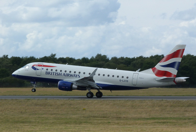 British Airways Embraer 170 G-LCYD departs.<br /> By Clive Featherstone.