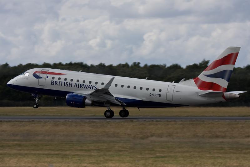 British Airways Embraer 170 G-LCYD lifts off.<br /> By David Bladen.