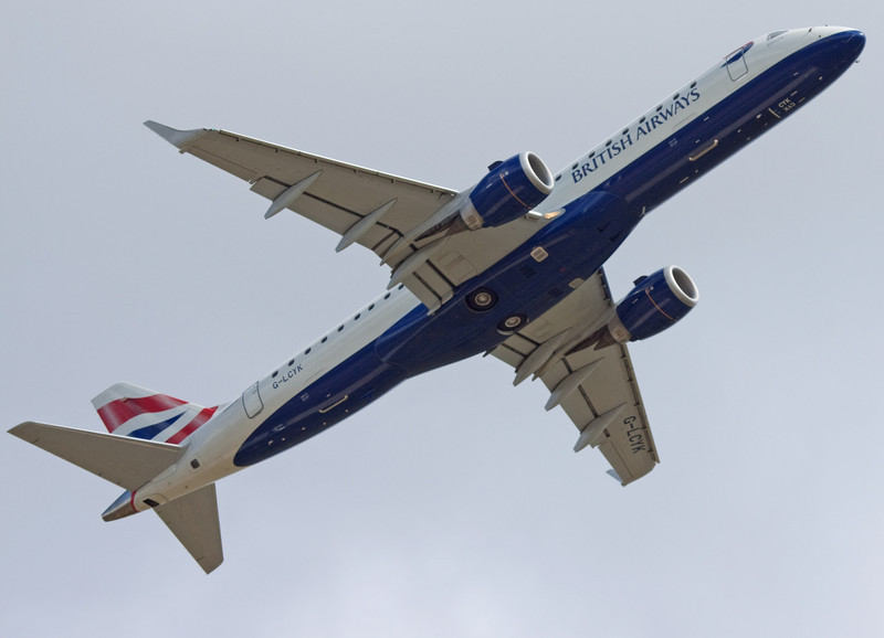 British Airways Embraer 190 G-LYCK Climbs out of DSA.<br /> By Mr Shortfinals.