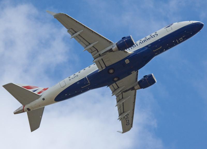British Airways Embraer 170 G-LCYD climbs off rnwy 20.<br /> By Mr Shortfinals.