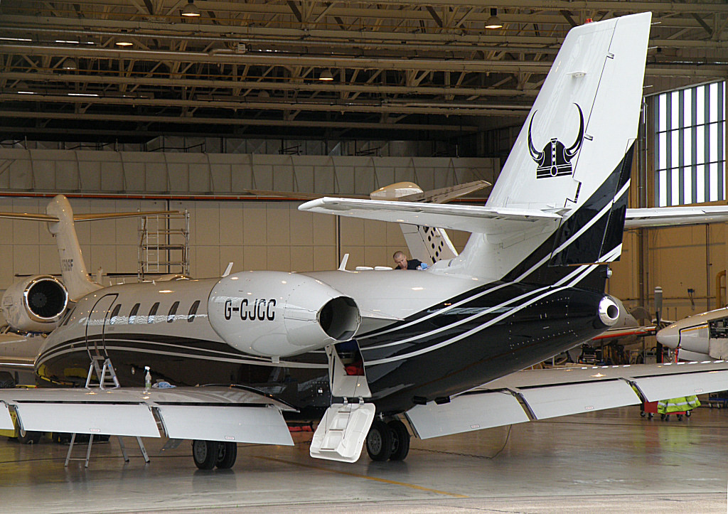 Taken 11th Aug - Viking Airlines Cessna 680 Sovereign Citation G-CJCC<br /> By Correne Calow.