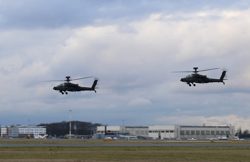 ARMY AIR CORPS Westland WAH-64D APACHE AH1 ZJ193 & ZJ204<br /> First visit of the Apache's doing a low approach .<br /> By Clive Featherstone.