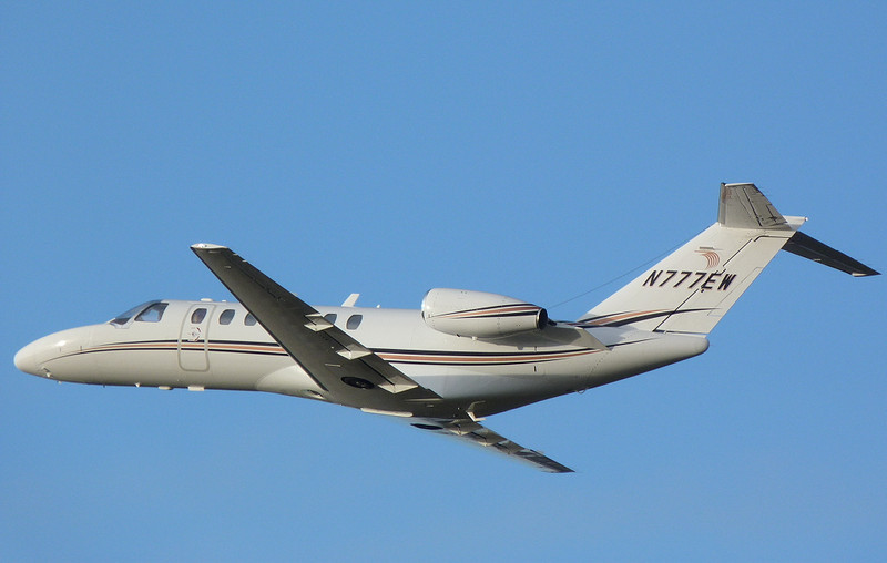 Cessna 525B CitationJet CJ3, N777EW.<br /> By Clive Featherstone.