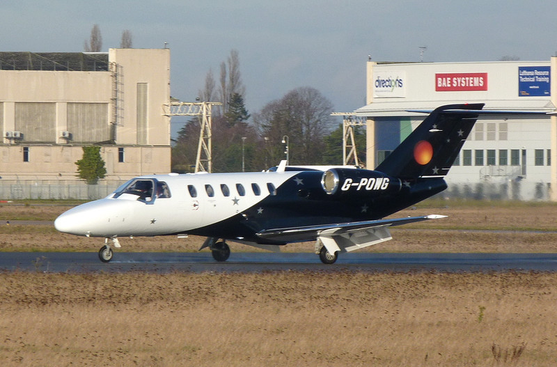 Titan Airways Cessna 525A CitationJet CJ2+ G-POWB.<br /> By Clive Featherstone.