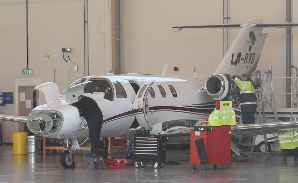 Long term resident Cessna 525 Citation CJ1+ LN-RYG.<br /> By Jim Calow.