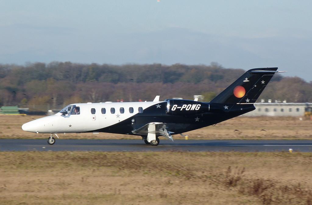Titan Airways Cessna 525A CitationJet CJ2+ G-POWB.<br /> By Clive Featherstone.