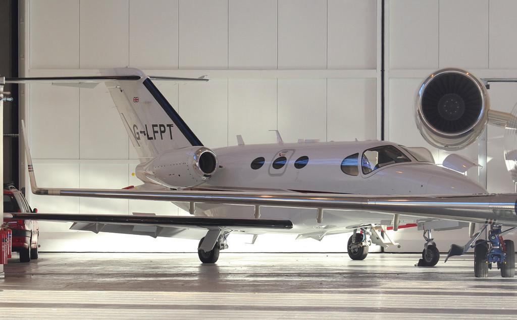 Cessna C510 Citation Mustang G-LFPT.<br /> By Jim Calow.