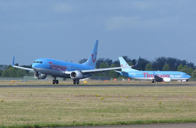Thomson Airways 737-800 G-FDZU & 737-300 G-THOO.<br /> By Clive Featherstone.