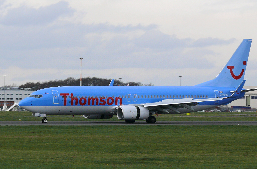 Thomson G-FDZU 737-800 on its first visit<br /> By Clive Featherstone.