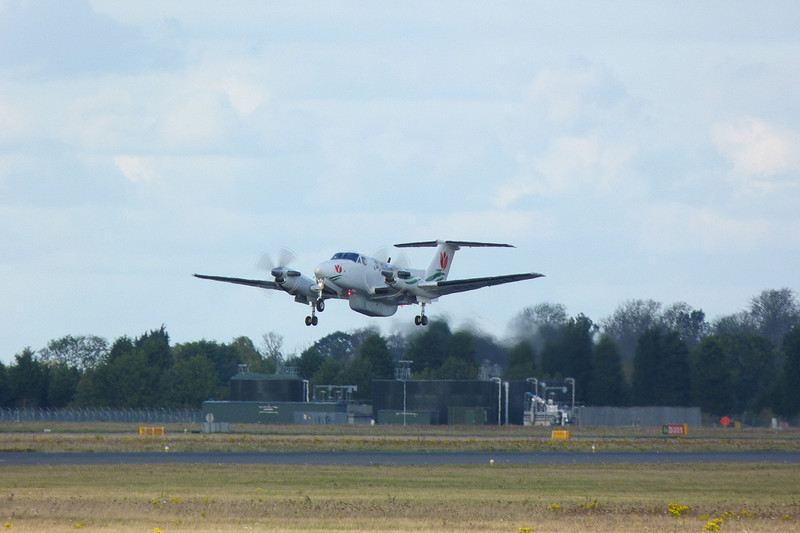 Beech 200 PH-ATM gets airbourne on another test flight.<br /> By Clive Featherstone.