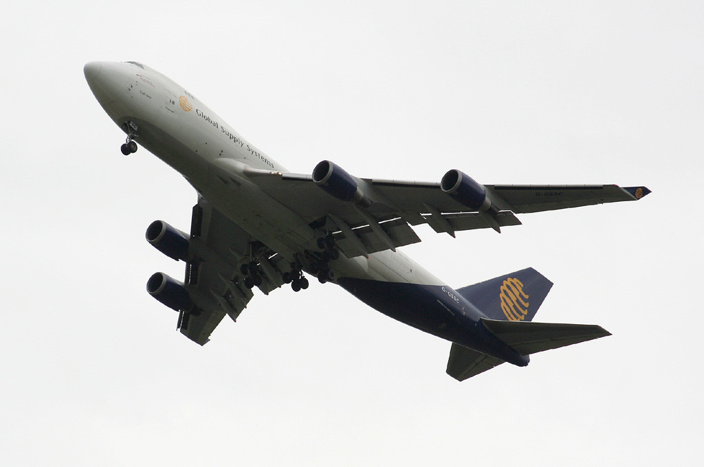 Global Supply B747-400 G-GSSC climbs out of DSA<br /> By Graham Vlacho.