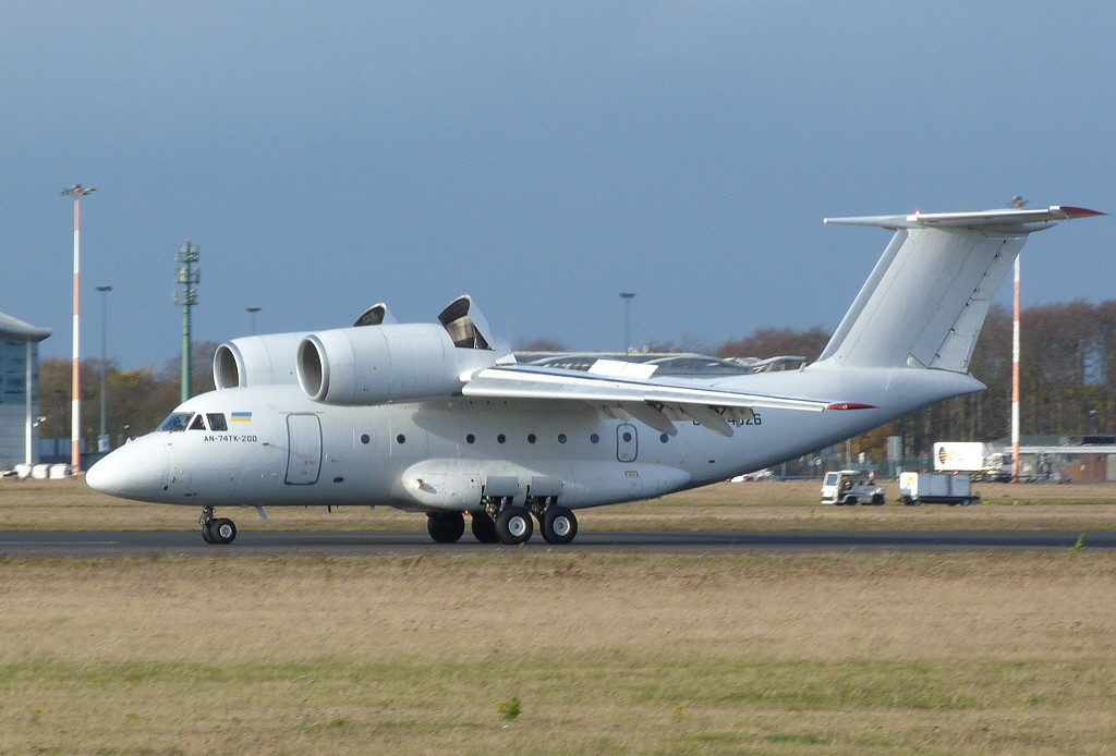 Motor Sich Airlines Antonov AN-74TK-200 UR-74026.<br /> By Clive Featherstone.