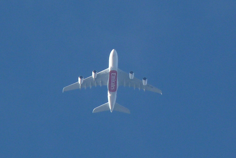 Emirates newest A380 A6-EDQ passes over DSA outbound from Manchester.<br /> By Clive Featherstone.