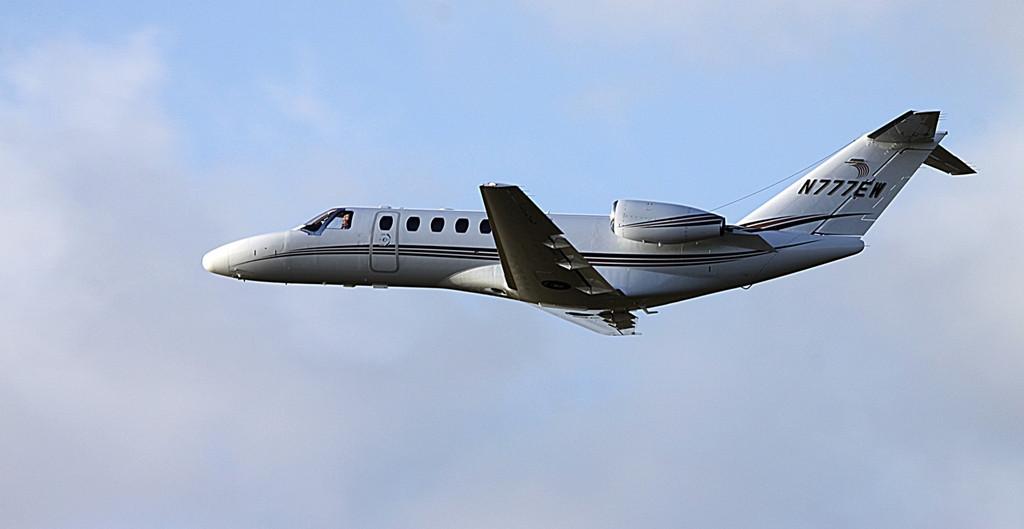 Cessna 525B CitationJet CJ3 N777EW departs DSA off rnwy 20.<br /> By Alan Jessop