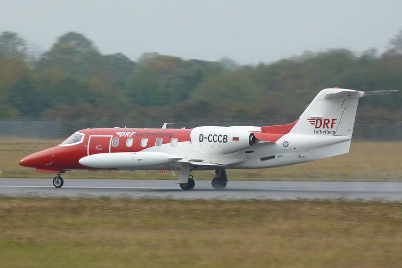 Deutsche Rettungsflugwacht (DRF) Learjet 35A D-CCCB.<br /> By Clive Featherstone.