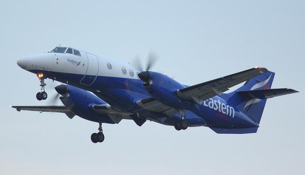 55 minutes after landing & Eastern Airways Jetstream 41 G-MAJW departs.<br /> By Jim Calow