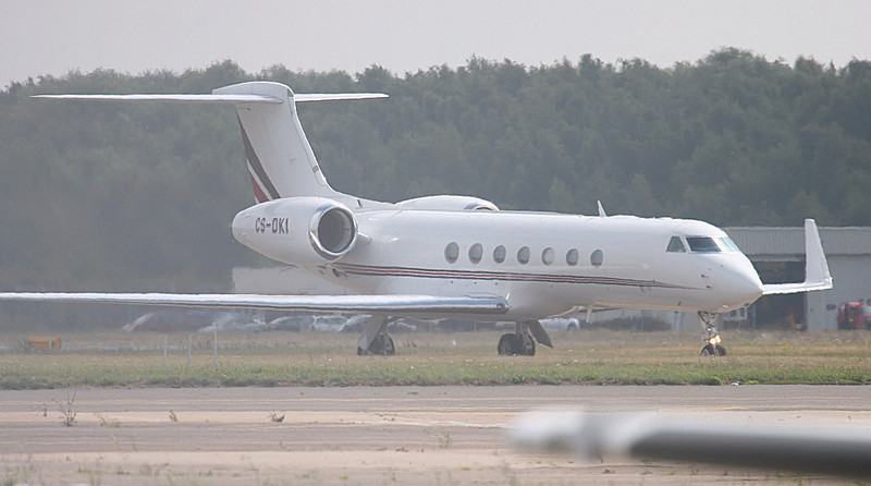 Netjets Gulfstream G550 CS-DKI arrives in the bright afternoon.<br /> By Corrrene Calow