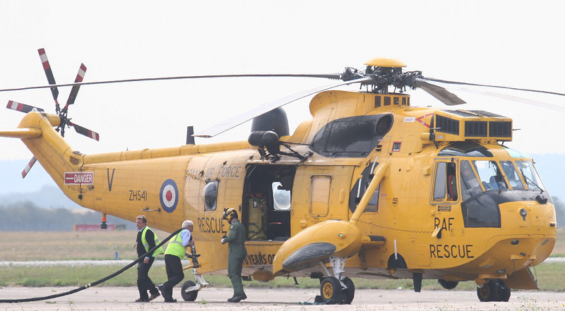 """RAF Sea King ZH541 """"Rescue 125"""" drops in for fuel<br /> By Correne Calow."""