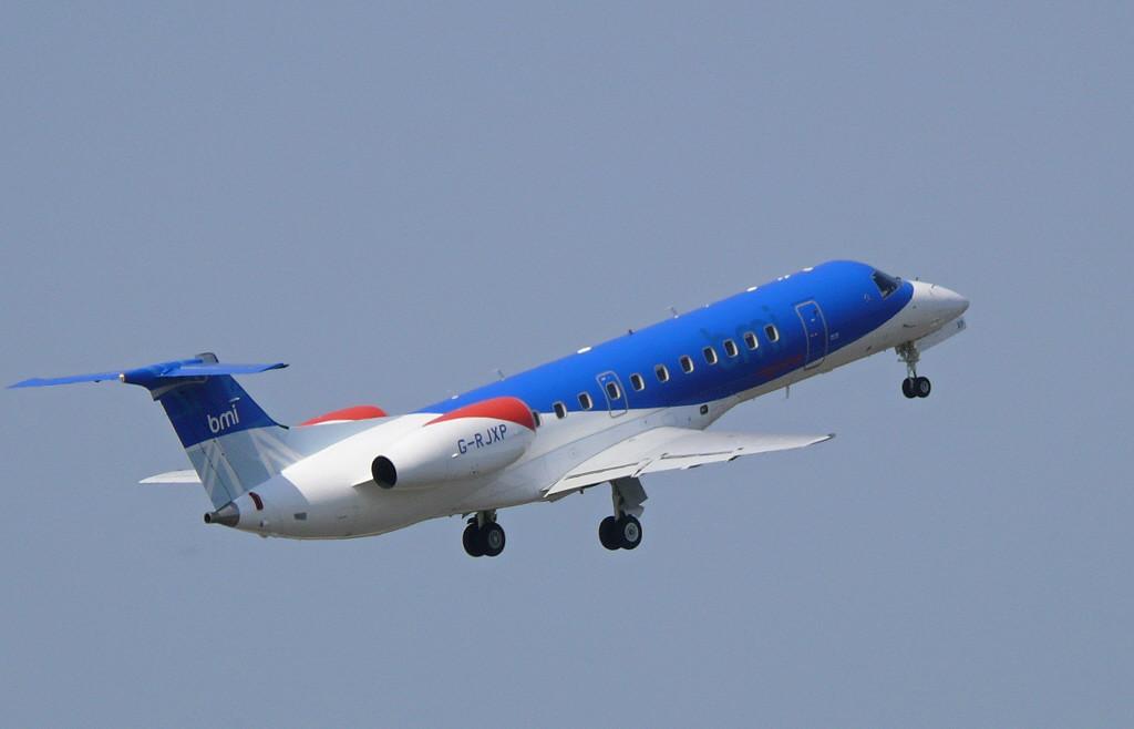 BMI Embraer ERJ-135ER  G-RJXP<br /> By Clive Featherstone.
