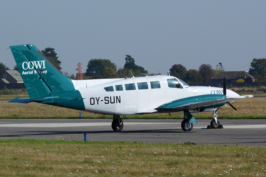 Cowi Aerial Survey Cessna 402C OY-SUN<br /> By Clive Featherstone.