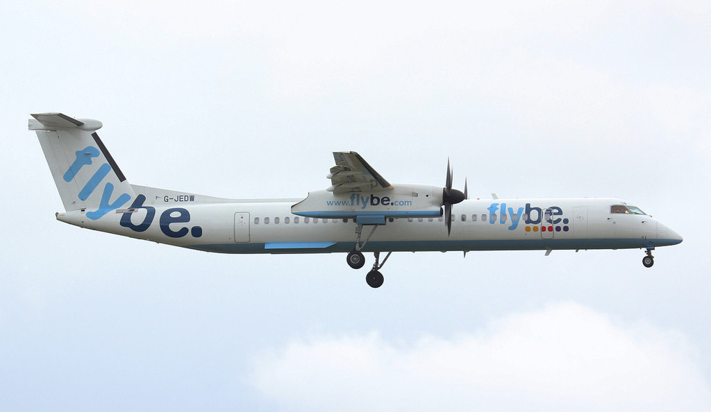 Flybe DHC-8-400 G-JEDW.<br /> By Jim Calow.